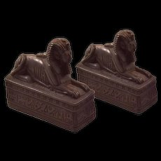 Beautiful Vintage Hand-Carved Black Soapstone Sphinx Bookends