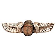 Sterling Egyptian Revival Winged Faience Scarab Brooch Very Vintage