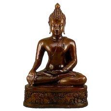 Collector's Dream Vintage Bronze Sukhothai Period Style Buddha Statue