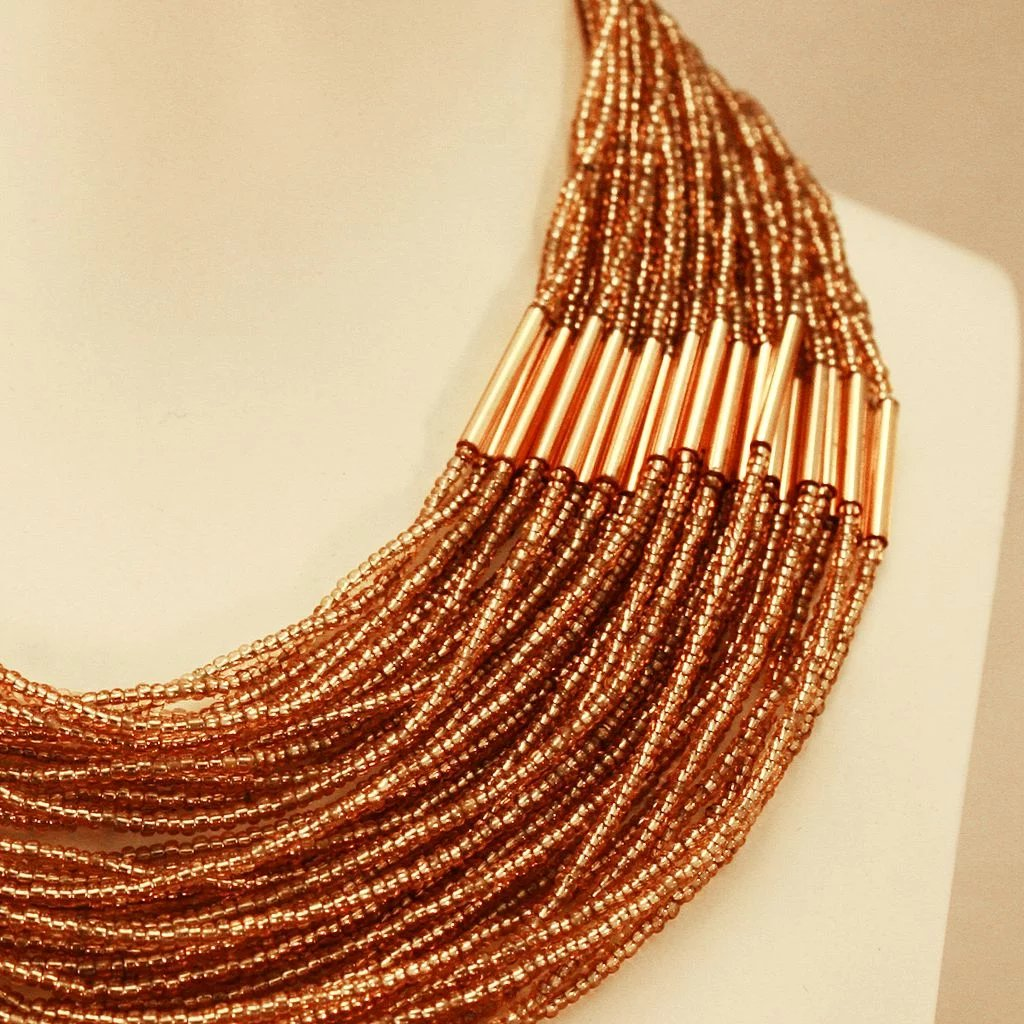Simply Divine Amber Colored Seed Bead Egyptian Style