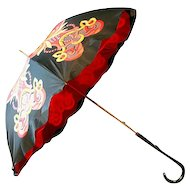 ca 1950s Red and Yellow Parasol with Wooden Handle - Beautiful