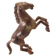 Gorgeous Rearing Horse Vintage Bronze Figurine