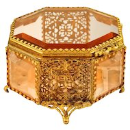 Antique Beveled Glass Octagonal Ormolu Jewel Casket - Gorgeous