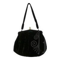 Vintage Bergdorf Goodman Black Velvet Bag Rhinestone Encrusted Clasp