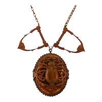 Dramatic Egyptian Revival Scarab Pendant Necklace with Amber-Colored Lucite