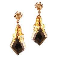 Gorgeous Miriam Haskell Fleur de Lis and Cut Glass Clip Earrings