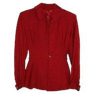"""""""Jaunty Juniors"""" Beautiful Burgundy Red ca 1940's Tailored Jacket"""