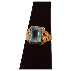 10K Yellow Gold Ostby Barton Blue Glass Ring