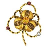 """""""Azub Austria"""" Vintage Rhinestone and Brass Shamrock Brooch"""