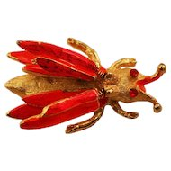 Adorable Hot Pink Enameled Hattie Carnegie Trembler Brooch