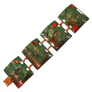 Gorgeous Vintage Mid-Century Modernist Copper and Enamel Panel Bracelet