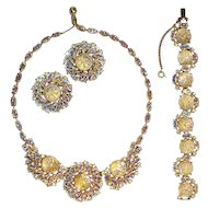 Rare Schiaparelli Over-the-Top Rhinestones and Opalescent Cabochons Parure