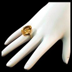 Vintage 14 Karat Gold Ring with 10.5 Carat Citrine