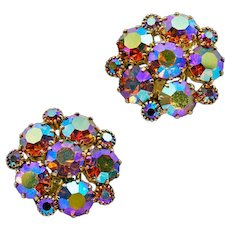 Super-Sparkly ca 1950s Weiss AB Rhinestone Earrings
