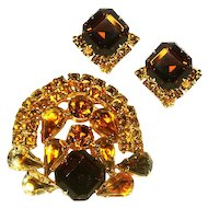 Sparkling Rich Rhinestone Brooch and Earrings Set - Unusual shape