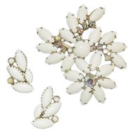 Elegant Milk Glass and Rhinestone Brooch and Earrings Set