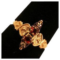 Romantic, Victorian Antique Garnet and 10k Yellow Gold Ring
