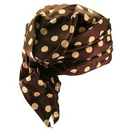 Stylish Silk Black and White Polka-Dot 1950s Turban