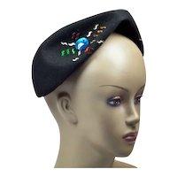 1940s Avant Garde Tricorne-Shape Hat with Colorful Rhinestones