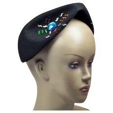 1940s Avant Garde Tricorne-Shape Hat with Colorful Rhinestones