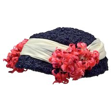 Darling Blue Straw Hat with Pink Flowers and White Sash