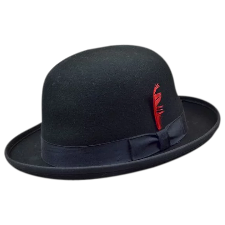 6f67a9db12ee79 Dashing Black Bowler Hat with Red Feather : Easterbelle's Emporium | Ruby  Lane