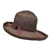 Vintage Chocolate Straw Sun Hat