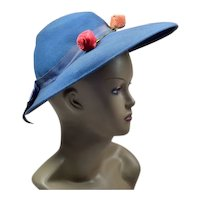 Unique Cornflower-Blue Vintage Hat
