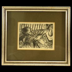 Vintage OOAK Pen and Ink Sketch of a Mother Nursing Her Child