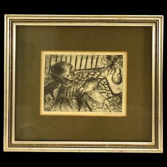 Vintage OOAK Pen and Ink Sketch of a Mother Nursing Her Child