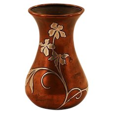 Highly Collectible Heintz Sterling on Bronze Bud Vase