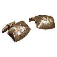 ca 1940s Siamese Nielloware Cuff Links