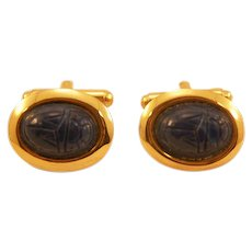 Retro Lapis-Blue Thermoplastic Cuff Links with Scarab Motif