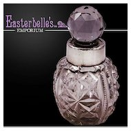 ca 1902 Hallmarked Sterling Silver and Pressed Glass Perfume Bottle