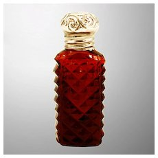 Beautiful Miniature Ruby-Glass Perfume / Scent Bottle with Sterling Silver Lid