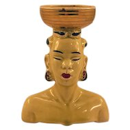 ca 1950s African Woman Ceramic Head Vase with Great Detailing