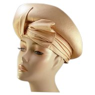 ca 1960s Ultra Chic Dupioni Silk Champagne Colored Adolfo Hat