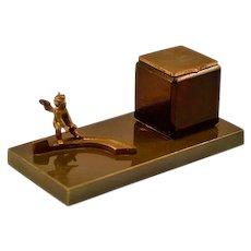 Antique French Cherub Bronze Inkwell