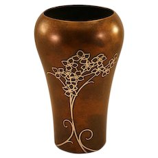 Unique Vintage Heintz Sterling on Bronze Vase with Floral Motif