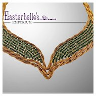 Hattie Carnegie Stunning Green Rhinestone and Gold-Tone Necklace