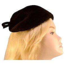 Vintage '40s Black Wool Bow Hat
