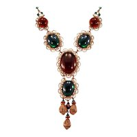 """""""Original by Robert"""" Necklace Lovely Glass Big Cabochon Necklace"""