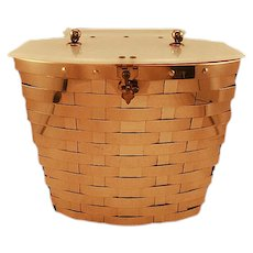 Gold-Colored Dorset Rex Fifth Ave Basket-Weave Bag Lucite Top