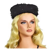 Vintage Noreen Fashions Black Velour & Acrylic Crystal Hat