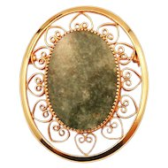 Lovely Cannetille 12K GF Brooch with Faux Jade Cabochon