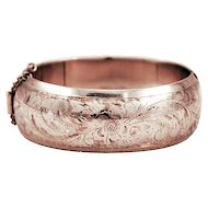 Hallmarked Sterling Silver Hinged Cuff with Floral Motif