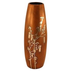 Silver Crest Sterling on Bronze Vase with Floral Embellishment