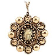 Vintage Egyptian Revival Silver-Colored Medallion Pendant with Scarab