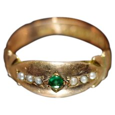 ca 1867 9kt Gold Gypsy Ring with Emerald and Freshwater Pearls