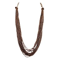 Luxe Glam Vintage Bronze-Colored Seed Bead Necklace